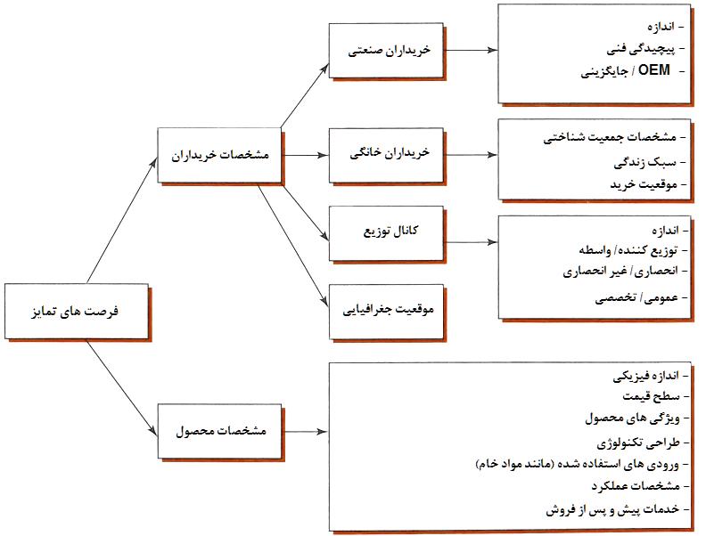 شکل مبنای بخش بندی: مشخصات خریداران و محصولات